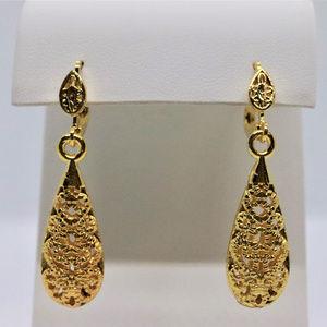 Tear Drop Gold Plated Earrings